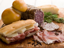 Focaccia with ham and cheese Stock Image