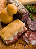 Focaccia with ham and cheese Stock Photography
