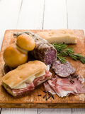 Focaccia with ham and cheese Royalty Free Stock Images
