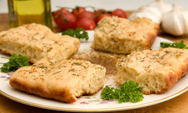 Focaccia with herbed olive oil dipping sauce Royalty Free Stock Photos