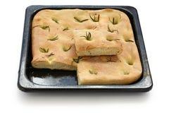 Focaccia, Italiaans vlak brood stock afbeelding