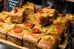 Focaccia Italian Bread with tomatoes royalty free stock image