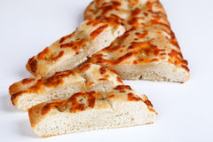 Focaccia. Italian bread with white background Royalty Free Stock Photos