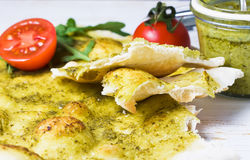 Focaccia  italian flat bread with pesto Royalty Free Stock Photo