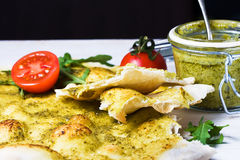 Focaccia  italian flat bread with pesto Stock Image