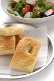 Focaccia, italienisches flaches Brot Stockbilder