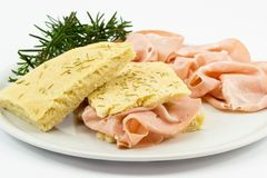 Focaccia with mortadella Royalty Free Stock Photos