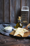 Focaccia with olive oil, cheese, white sause and herbs Royalty Free Stock Images