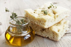 Focaccia with olive oil Royalty Free Stock Images