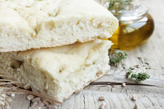 Focaccia with olive oil Stock Images
