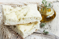 Focaccia with olive oil Royalty Free Stock Photography