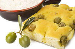 Focaccia with olives stock image