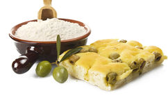 Focaccia with olives Stock Photos