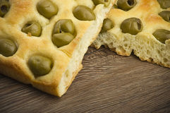 Focaccia with olives Stock Photography
