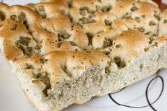 Focaccia With Olives - Loaf Stock Image
