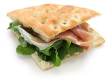 Focaccia panino, italian sandwich Stock Photos