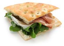 Focaccia panino, italiensk smörgås Arkivfoton