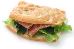 Focaccia panino, italiensk smörgås Arkivbild