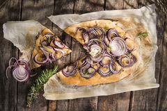 Focaccia with red onion Royalty Free Stock Image