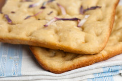 Focaccia with red onions Stock Photos