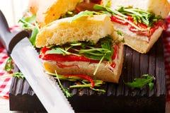 Focaccia roosterde de sandwiches van Spaanse peperarugula Royalty-vrije Stock Fotografie