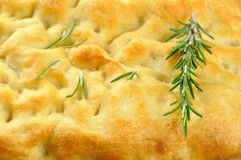 Focaccia with rosemary, olive oil and coarse salt Stock Images