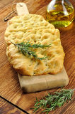 Focaccia with rosemary, olive oil and coarse salt Stock Image
