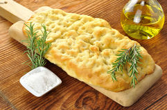 Focaccia with rosemary, olive oil and coarse salt Royalty Free Stock Images