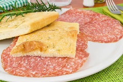 Focaccia with salami Royalty Free Stock Images