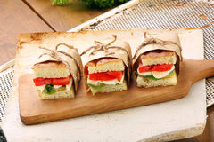 Focaccia sandwich with mozzarella basil and tomato Royalty Free Stock Images