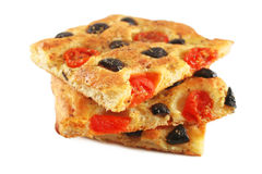 Focaccia with tomatoes and olives Stock Photos