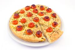 Focaccia with tomatoes and oregano Royalty Free Stock Photography