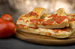 Focaccia with tomatoes Royalty Free Stock Image