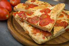 Focaccia with tomatoes Royalty Free Stock Photography