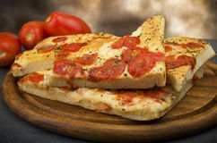 Focaccia with tomatoes Royalty Free Stock Images
