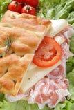 Focaccia whit bacon tomato end cheese Stock Photography