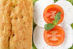 Focaccia whit caprese mozzarella end tomato Stock Photo