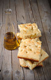 Focaccia on a wodden board Royalty Free Stock Image