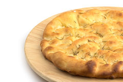 Focaccia in a wooden plate Stock Photography