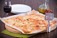 Focaccia with zucchini. Stock Photos
