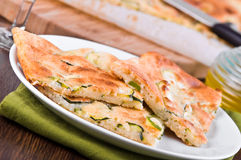 Focaccia with zucchini. Royalty Free Stock Photos