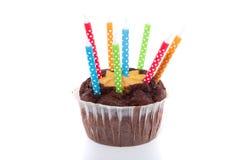 Focaccina del cioccolato di compleanno Fotografie Stock Libere da Diritti