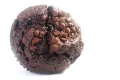 Focaccina del cioccolato su priorità bassa bianca Fotografia Stock