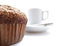 Focaccina e caffè di crusca Fotografie Stock