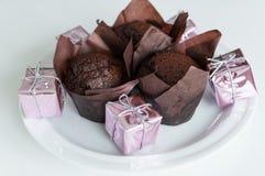 Focaccine del cioccolato zuccherato Fotografia Stock Libera da Diritti