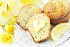 Focaccine del seme di papavero del limone Fotografia Stock Libera da Diritti