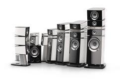Focal JMLab Utopia EM Series speakers. Cg picture of Focal Utopia EM speakers in carrara white gloss finish on white background Stock Image
