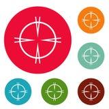 Focal target icons circle set. Isolated on white background stock illustration