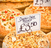 Foccacia. Freshly baked italian foccacia at a market stall in the UK Stock Photography