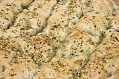 Foccacia bread. With condiments and olive oil Stock Photo